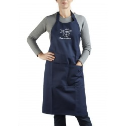 "Embroidered navy blue Apron ""Signé Annha"""